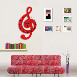 Musical Note Wooden Decorative Wall Clock - Yellow/Green/Red/White