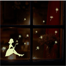 Night Glow Dandelion Girl Wall Sticker Removable Home Decor