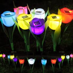 Outdoor Yard Trädgård Gräsmatta Solar Power LED Nattlampas Tulip Blomster Lamp