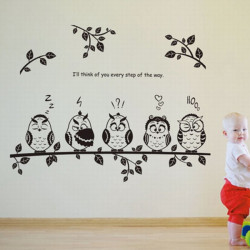 Owl Birds Kindergarten Kids Bedroom Home Decor DIY Wall Sticker