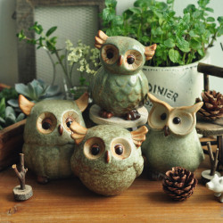 Owl Keramiska Ornament Retro Djur Heminredning Dekoration