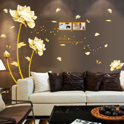 PVC Golden Love Lotus Wall Sticker Home Decor DIY Mural Decal Art