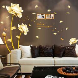 PVC Golden Kärlek Lotus Väggdekal Heminredning DIY Mural Taldekalkonst