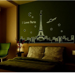 Paris Eiffel Tower Fluorescent Wall Stickers Removable