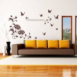Peony Butterfly English Poetry TV Setting Bedroom Sticker Wall Poster