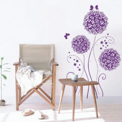 Pruple Flower Wall Sticker Housen Decoration Ball- Flower Sticker
