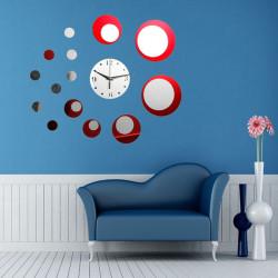Red Acryl Kreis 3D Spiegeleffekt Wanduhr Aufkleber Ausgangsdekor Geschenk