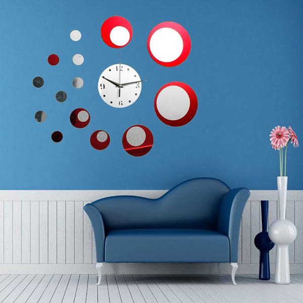 Red Akryl Circle 3D Spegeleffekt Väggklocka Klistermärken Heminredning Heminredning