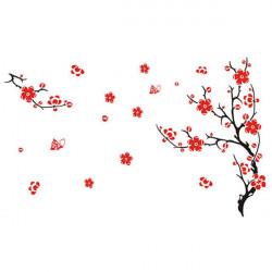 Rote Blüten Blumen Baum entfernbare Wand Aufkleber