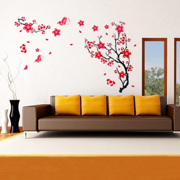 Red Plum Blossom Väggdekal Removable Art DIY Heminredning Heminredning