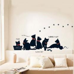 Löstagbar Svart Katt Family Väggdekaler Room Bcakground Decor Dekal