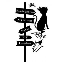 Abnehmbare Cat Cross Road Sign Wandaufkleber Home Decor Aufkleber
