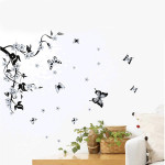 Removable Flower Tree Black Butterfly Wall Sticker Home Decor Sticker Home Decor