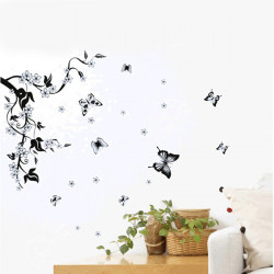 Removable Flower Tree Black Butterfly Wall Sticker Home Decor Sticker