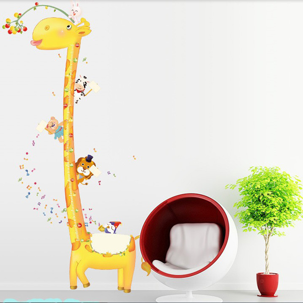 Abnehmbare Giraffe Höhe Wandaufkleber Kinderzimmer Dekor Abziehbild Haus Dekoration