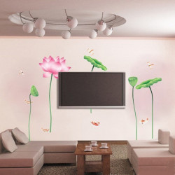 Removable Lotus Waterproof Paster Background Decoration Wall Sticker