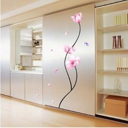 Abnehmbare PVC Pink Flower Stem Wandaufkleber Raum Dekor Aufkleber