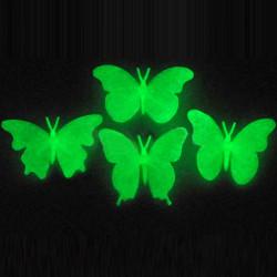 Set 4 Fluorescerande Glöd i Mörkerfjärils Plast Väggdekaler