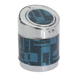 Stainless Steel Blue Bonded leather Cylinder Shape Ashtray