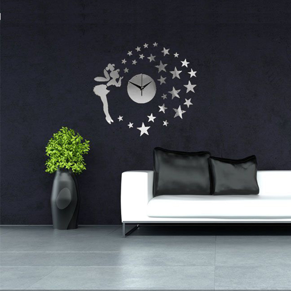 Star Elfin Fairy 3D DIY Clock Mirror Väggdekal Modern Heminredning Dekal Heminredning