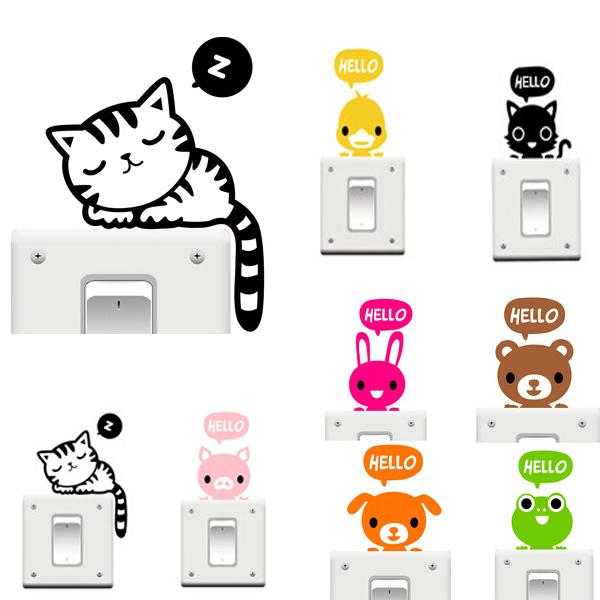 Vinyl Removable Funny Katt Switch Klistermärken Svart Art Dekal Heminredning Heminredning