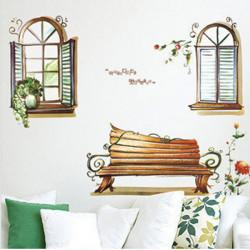 Fönster Scenery Väggdekal Stimulering Trä Fönster Klistermärken Decor