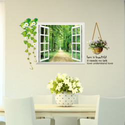Window Wall Stickers Sofa Bedroom Wall Sticker Tree-lined trail