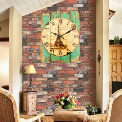 Træ Vintage Vægur Chic Hjem Coffeeshop Væg Dekoration
