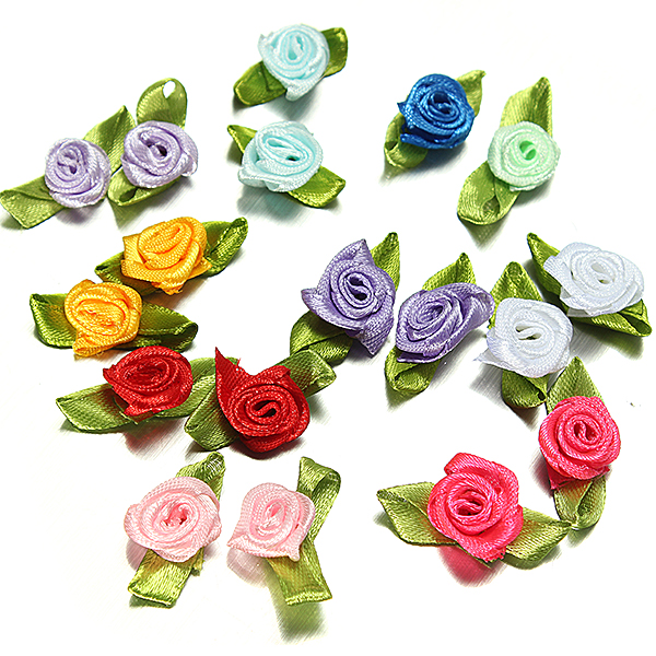 100 Ribbon Rose DIY Decor Wedding Flower Craft Sewing Leaves Baby & Mother Care
