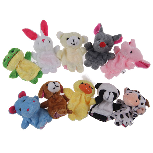 10 Pcs Plush Animal Finger Puppet Set Play Learn Story Toy Baby Dolls