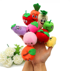 10 Pcs Plush Finger Puppets Doll Fruits Vegetables Sets Baby Toys