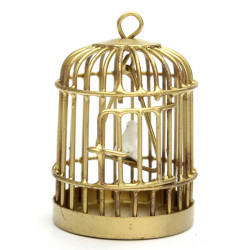 1:12 Mini Golden Metal Bird Cage Furniture Gifts Children Toys