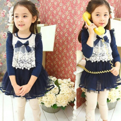 2014 Autumn Baby Girl Bow Lace Mesh Skirt Clothes Tutu Dress 1-5Y