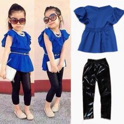 2015 Varm Baby Piger Børn Shirt Kjole + Leggings Bukser + Bælte
