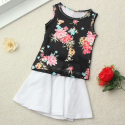 2015 Säuglingsbaby 2stk Blumen Top + Solide Rock Kleid Outfits Set 6M 3Y