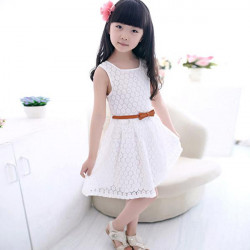 2015 Infant Toddler Baby Girls Sleeveless Clothing Lace Dress With Belt