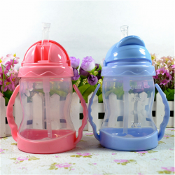 280ML Cartoon Drinking Water Cup Straw Handle Training Bottle