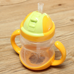 280ML Children Kids Drinking Water Cup Straw HandleTraining Bottle