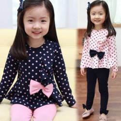 2 Farben Mädchen Baumwollbogenknoten Langarm Punkt T Shirt Sets