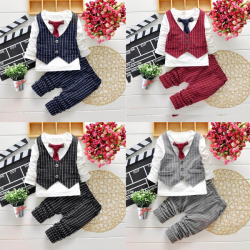 2PCS Baby Boys Cotton Gentleman Suits Top Pants Set