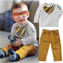 2ST Baby Kind Jungen Hemd Oberseiten Hosen lässige Sportswear Sets