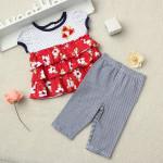2st Baby Barn Flickor Sommar Drape Piratbyxor Outfits Set Barnprodukter