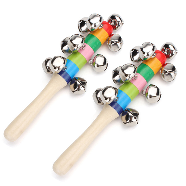 2Pcs Baby Kid Rainbow Wooden Handle Bell Stick Shaker Rattle Toy Baby & Mother Care