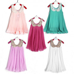 2Y-6Y Baby Girl Chiffon Dress Bead Floral Collar Sleeveless Tops