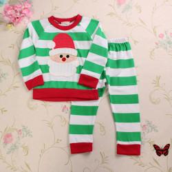 2stk Baby Børn Jul Tøj Indstiller Stripe Toppe Bukser