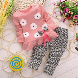 2pcs Girl Bownot Tops+Pants Set Outfits Spring Clothes