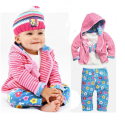 3Pcs Infant Baby Girl Clothing Set Stripe Coat T-shirt  Flower Pants