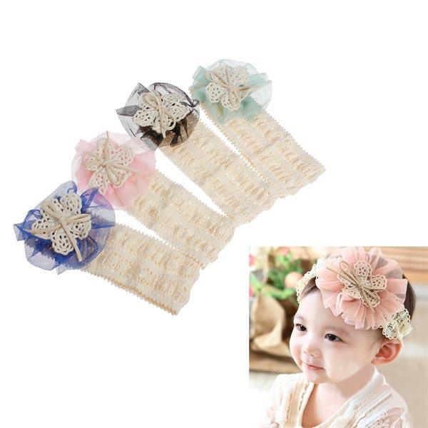 4 Färger Baby Pannband Mjuk Bomull Elastic Blomma Huvudbonad Barnprodukter
