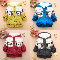 4 Colors Baby Warm Hoodies Jacket Coat Snowsuit Outwear