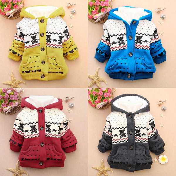 4 Colors Baby Warm Hoodies Jacket Coat Snowsuit Outwear Baby & Mother Care